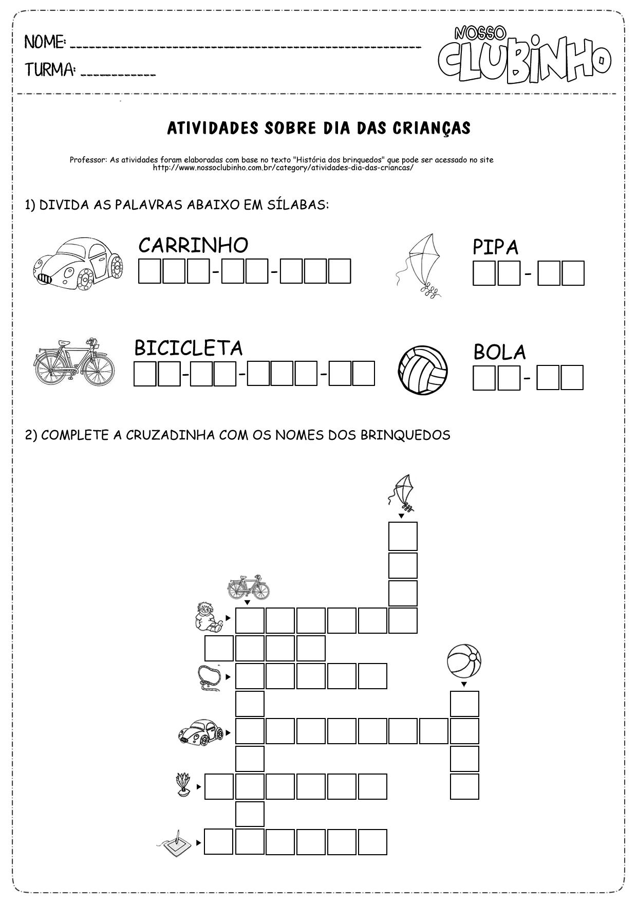 Atividades Para Alfabetiza    O Para O Dia Das Crian  As