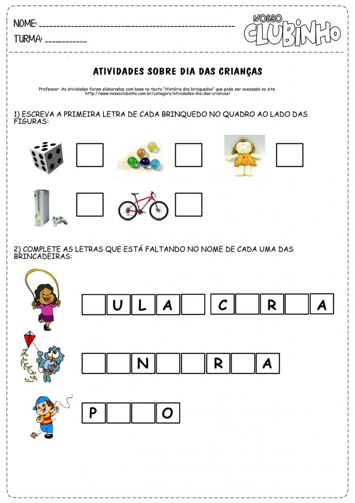 Atividades para alfabetização para o dia das crianças