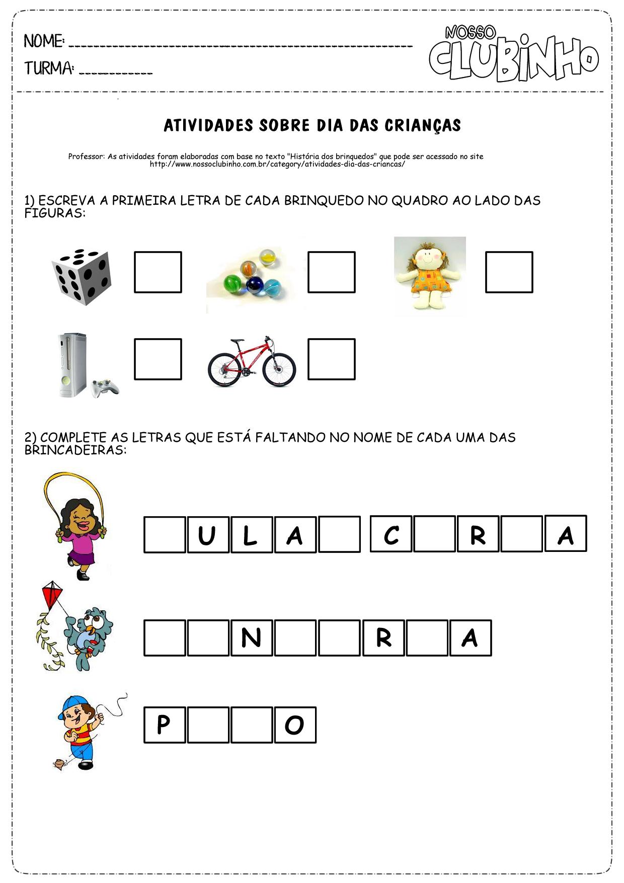 Famosos Atividades para alfabetização II - Dia das crianças - Nosso Clubinho PR76