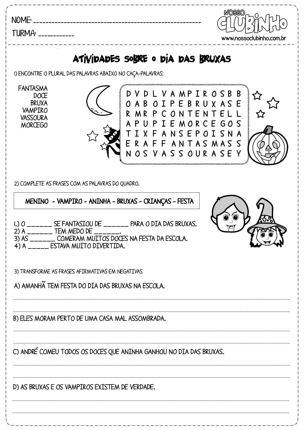 Atividades Para Alfabetização Halloween Dia Das Bruxas Para O 2º