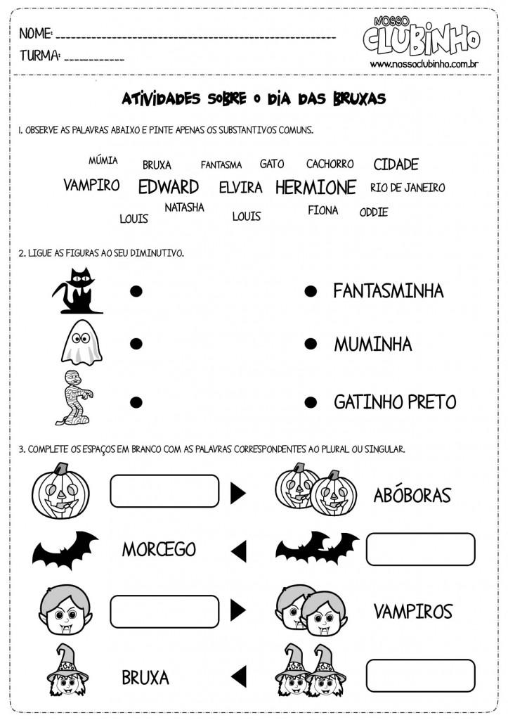 Atividades para alfabetização de crianças sobre o haloween