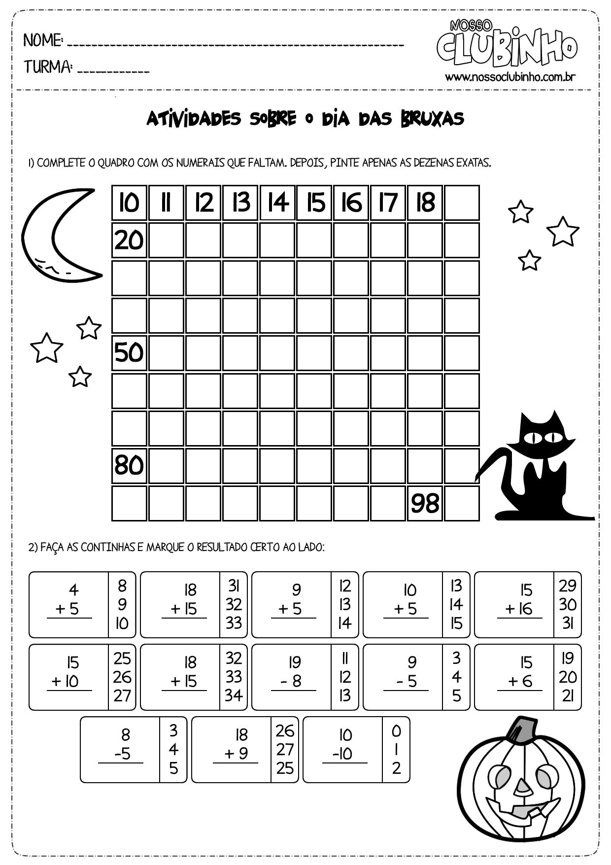 Atividades de matemática halloween