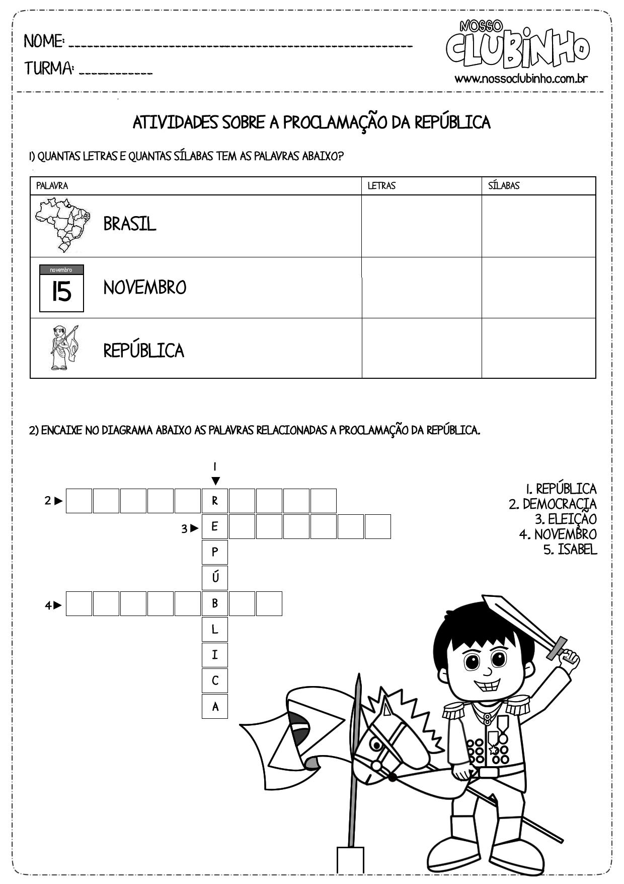 Atividade educativa de alfabetização sobre a Proclamação da República