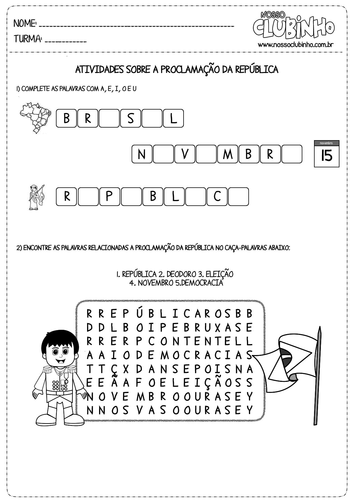 Atividades para crianças do ensino fundamental sobre a Proclamação da República