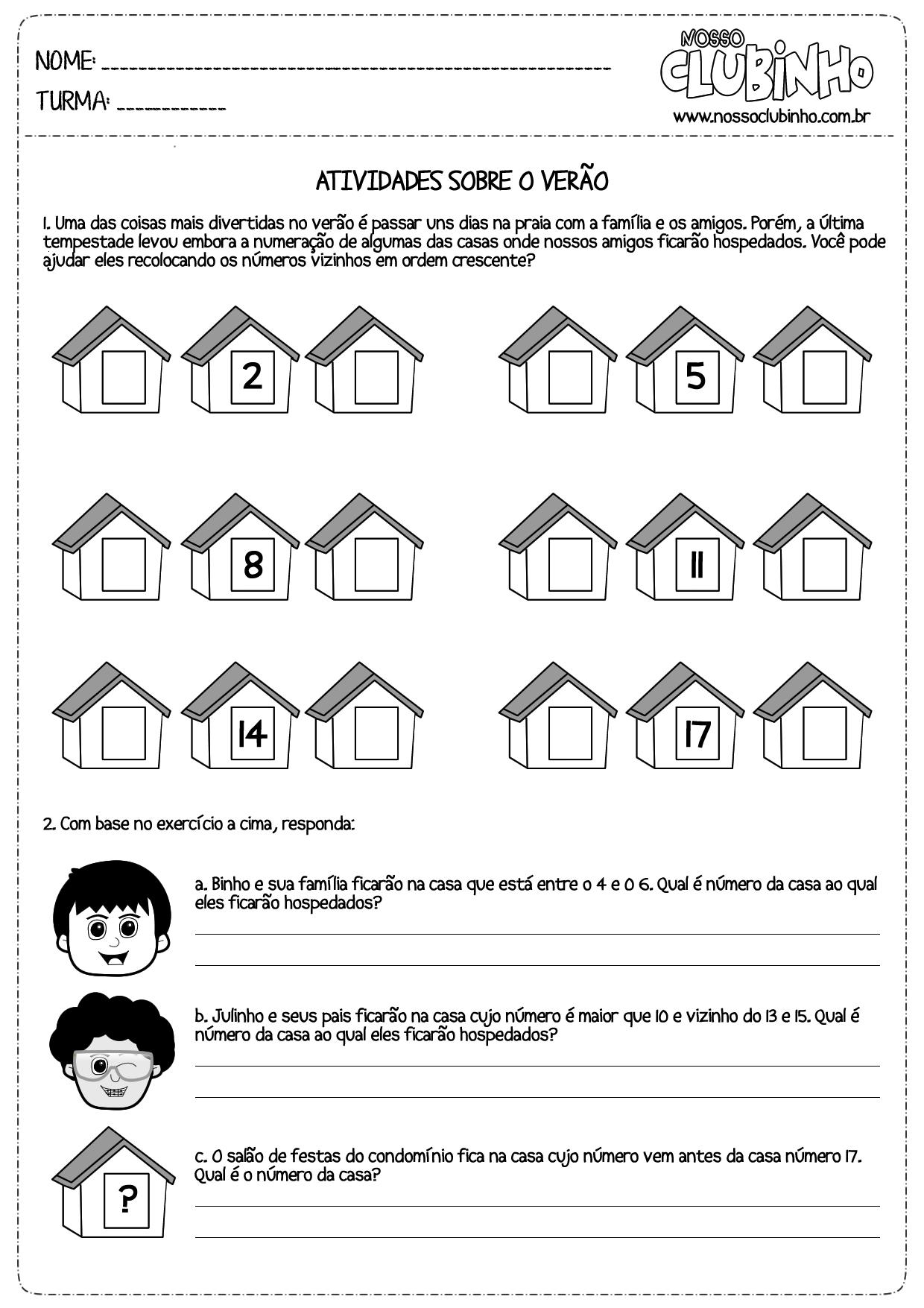 Atividade para alfabetização de crianças sobre o verão 2013