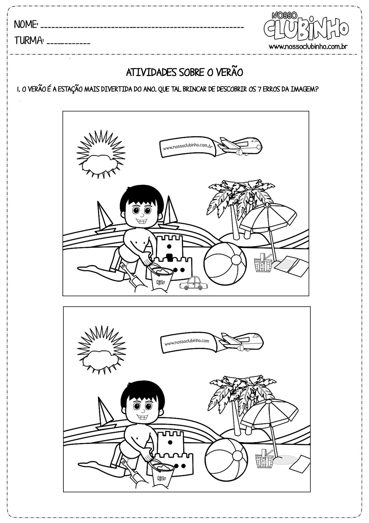 Atividades para educação infantil sobre o verão 2013.