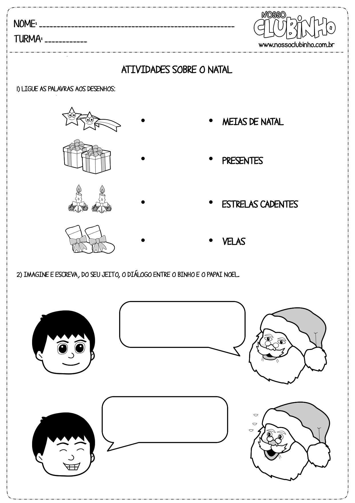 Atividades para alfabetização: Natal III