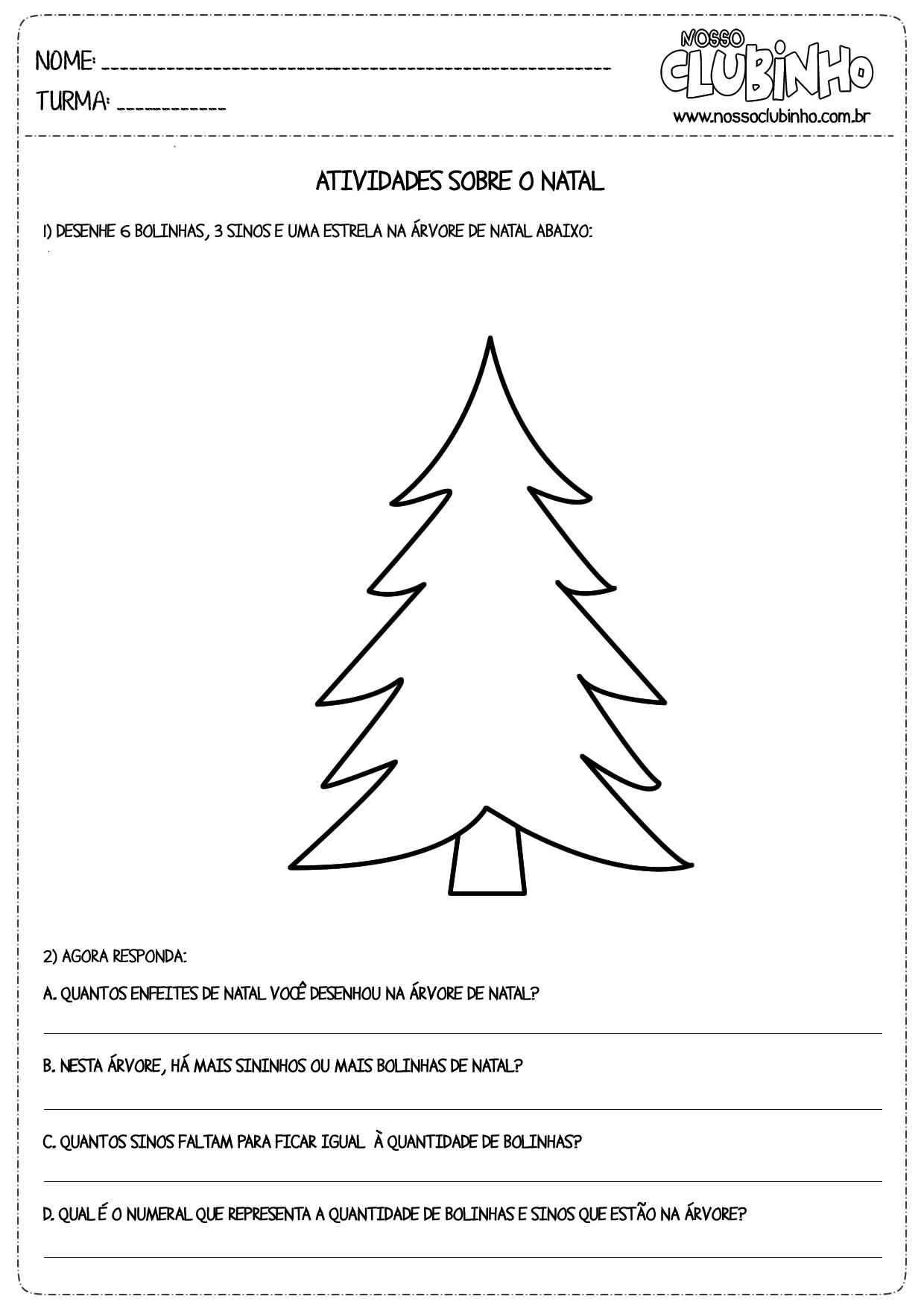 Atividade para alfabetização de crianças sobre o Natal