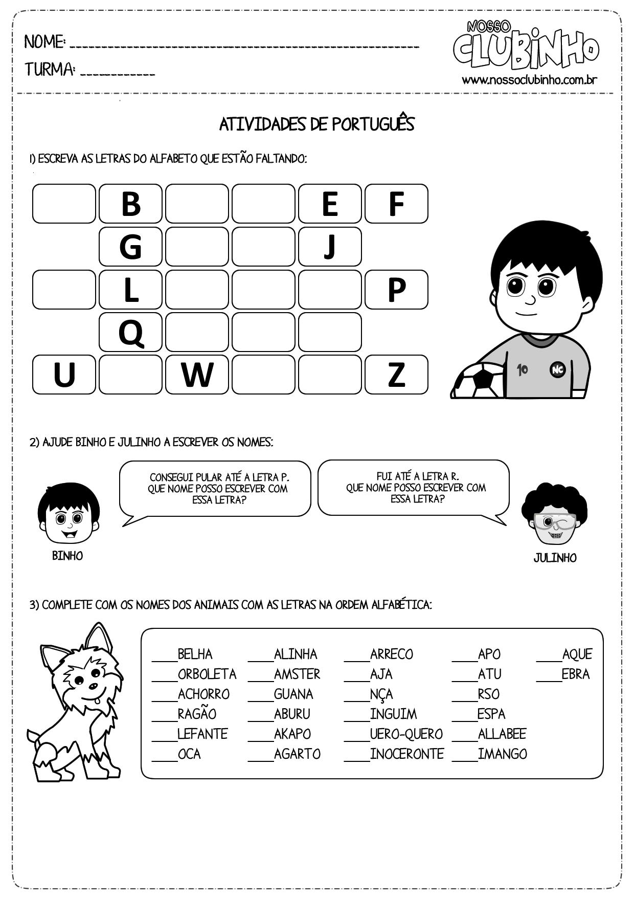 Atividades Para Alfabetiza    O Sobre Ordem Alfabetica