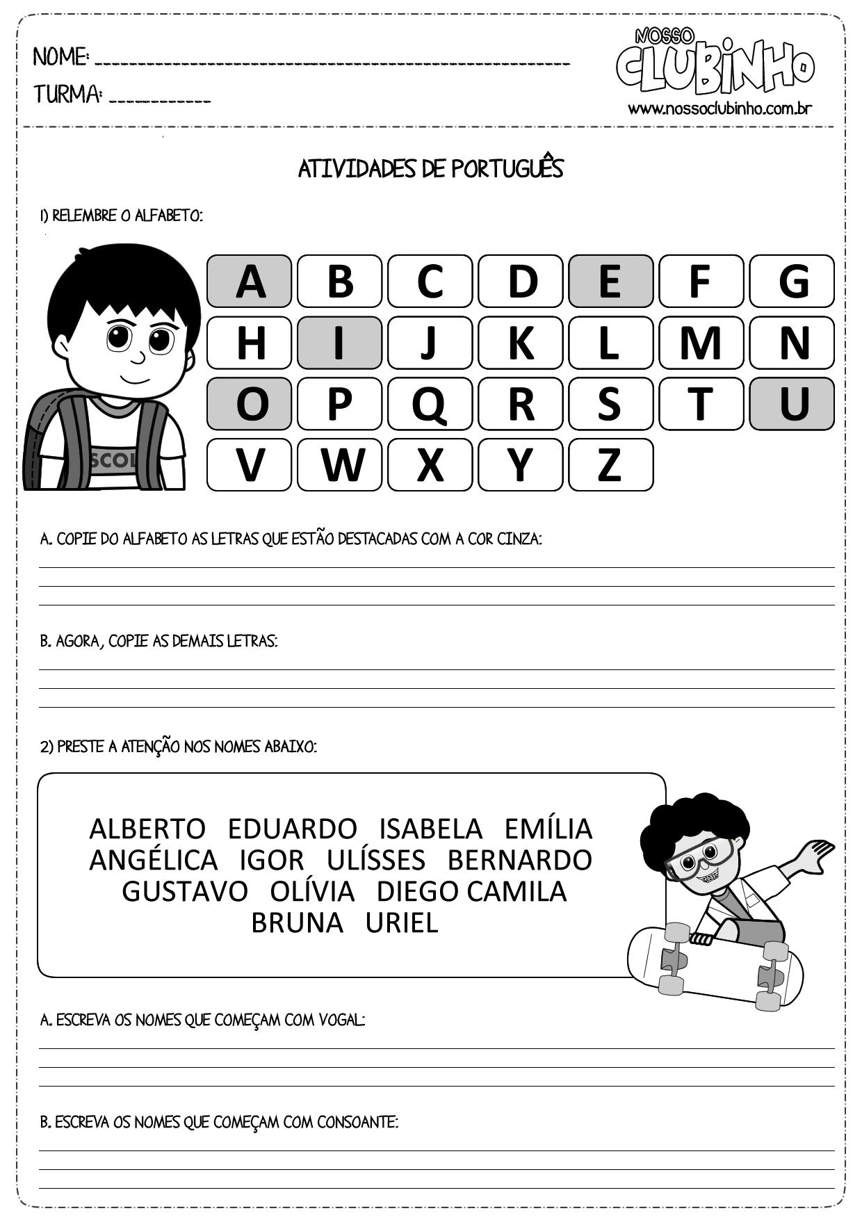 Atividades para alfabetização: Vogais e consoantes