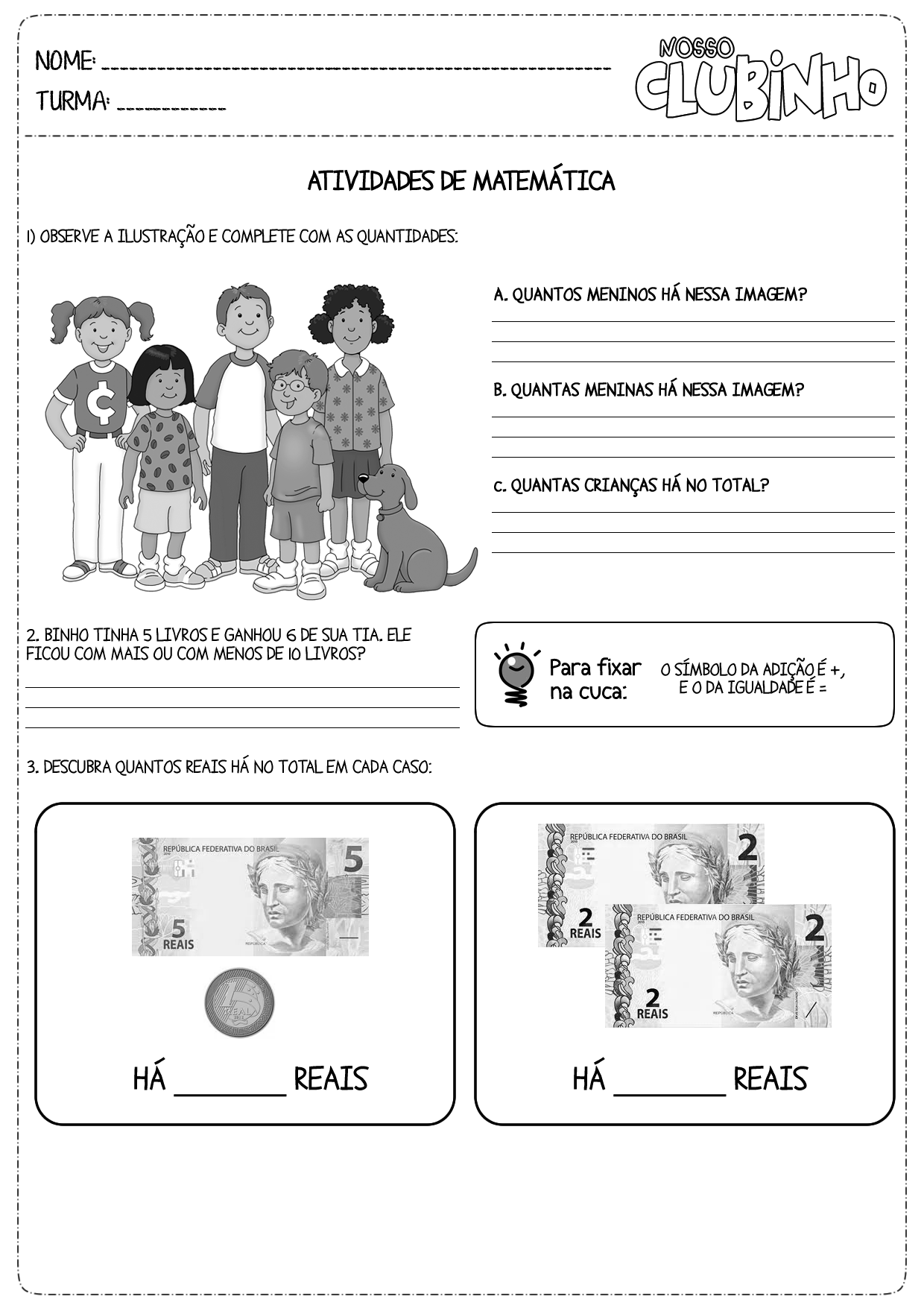 Atividades De Matemática Adição Simples Nosso Clubinho