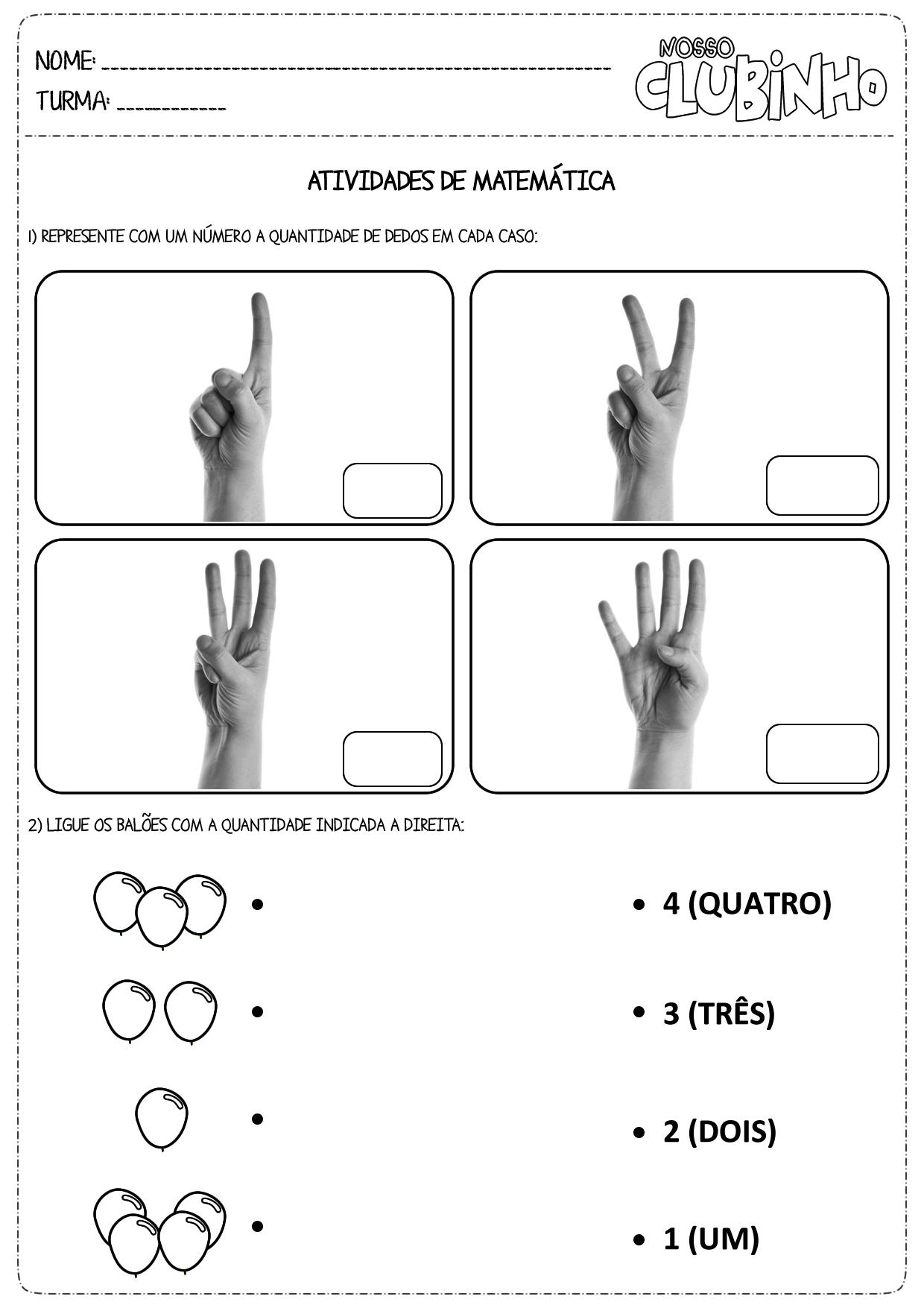 Fabuloso Atividades de matemática: Números e Quantidades - Nosso Clubinho AV83