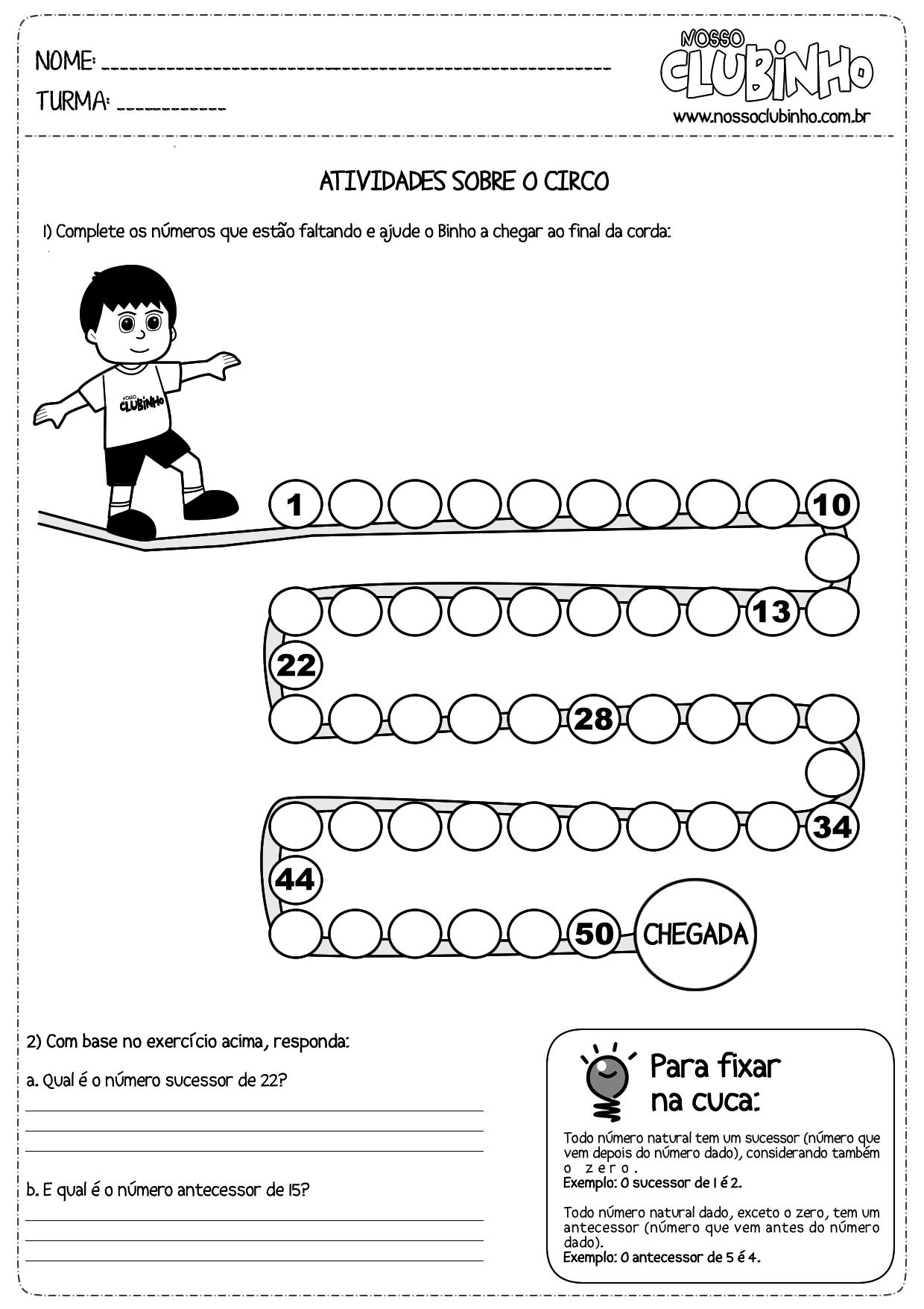Muitas vezes Atividades de matemática: Dia do Circo - Nosso Clubinho SX33