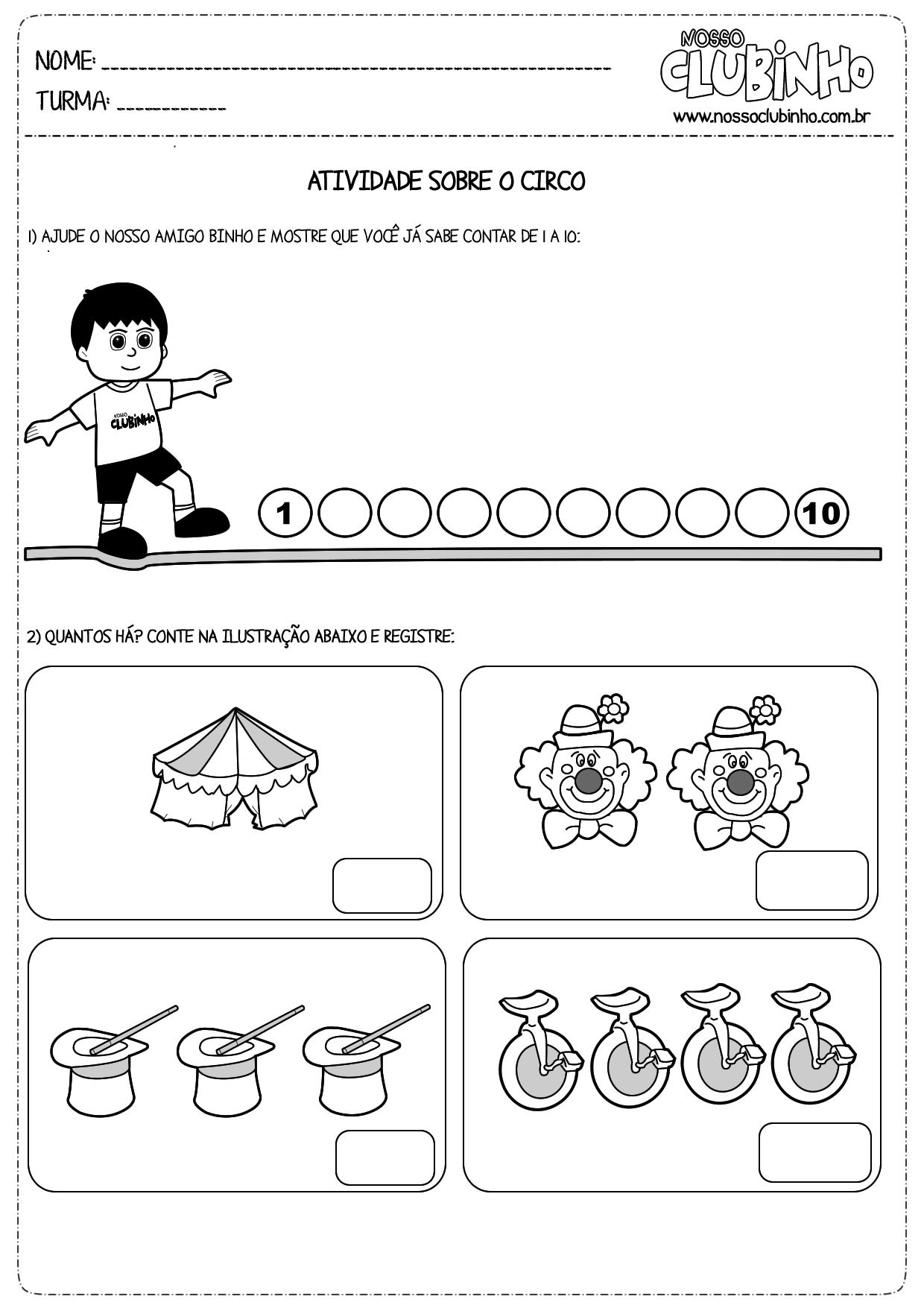 Atividades de matemática: Dia do Circo III