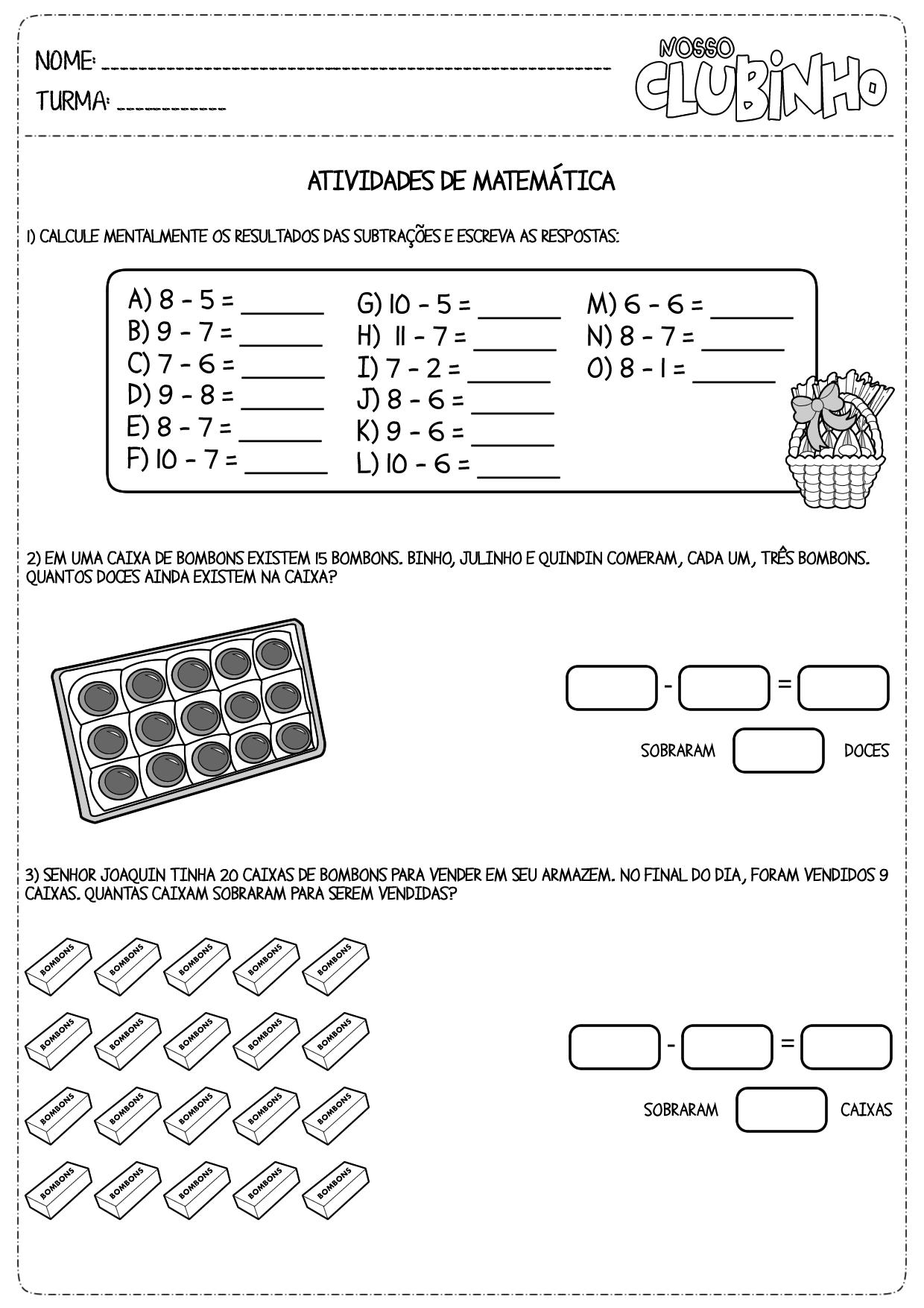 Suficiente atividades de matemática - Página 2 de 4 - Nosso Clubinho HI08