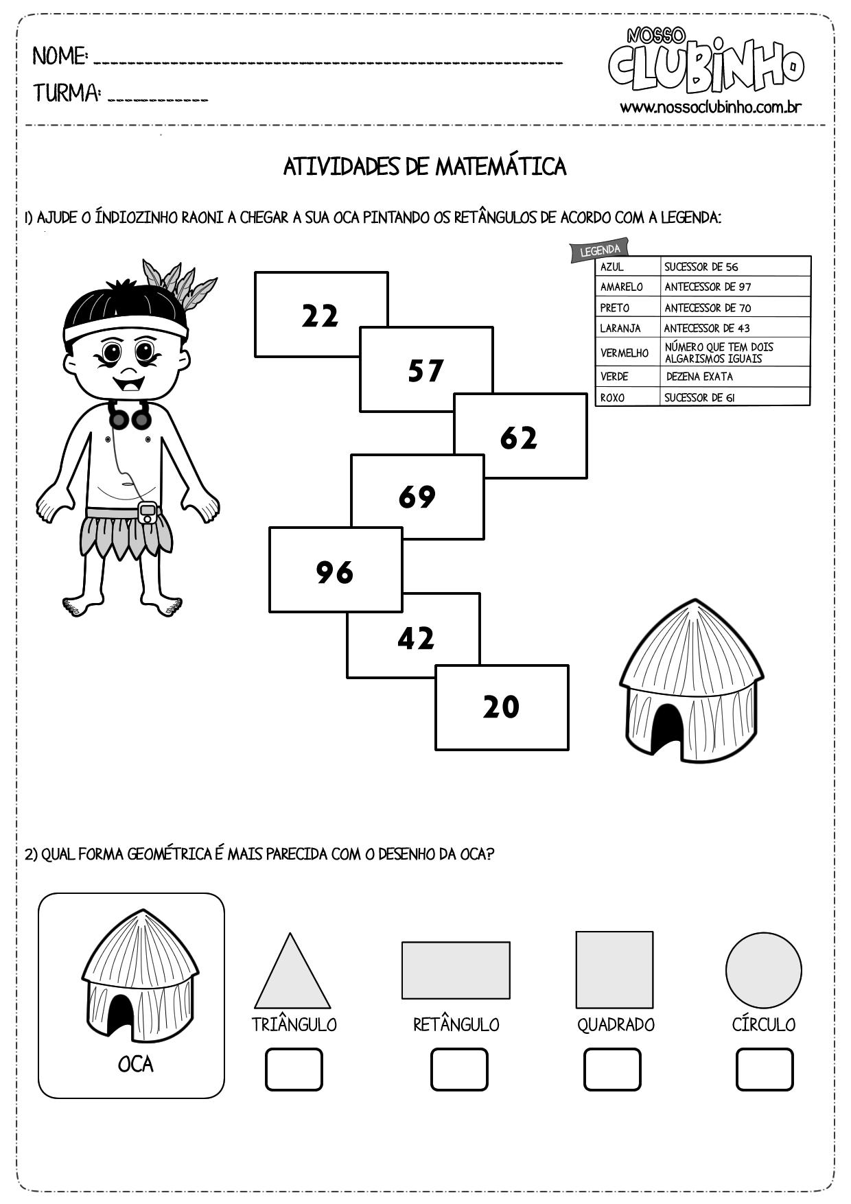 Atividades De Matematica Dia Do Indio Nosso Clubinho