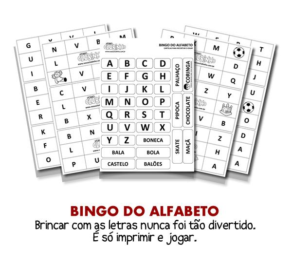 Conhecido Bingo de Letras - Nosso Clubinho VD29