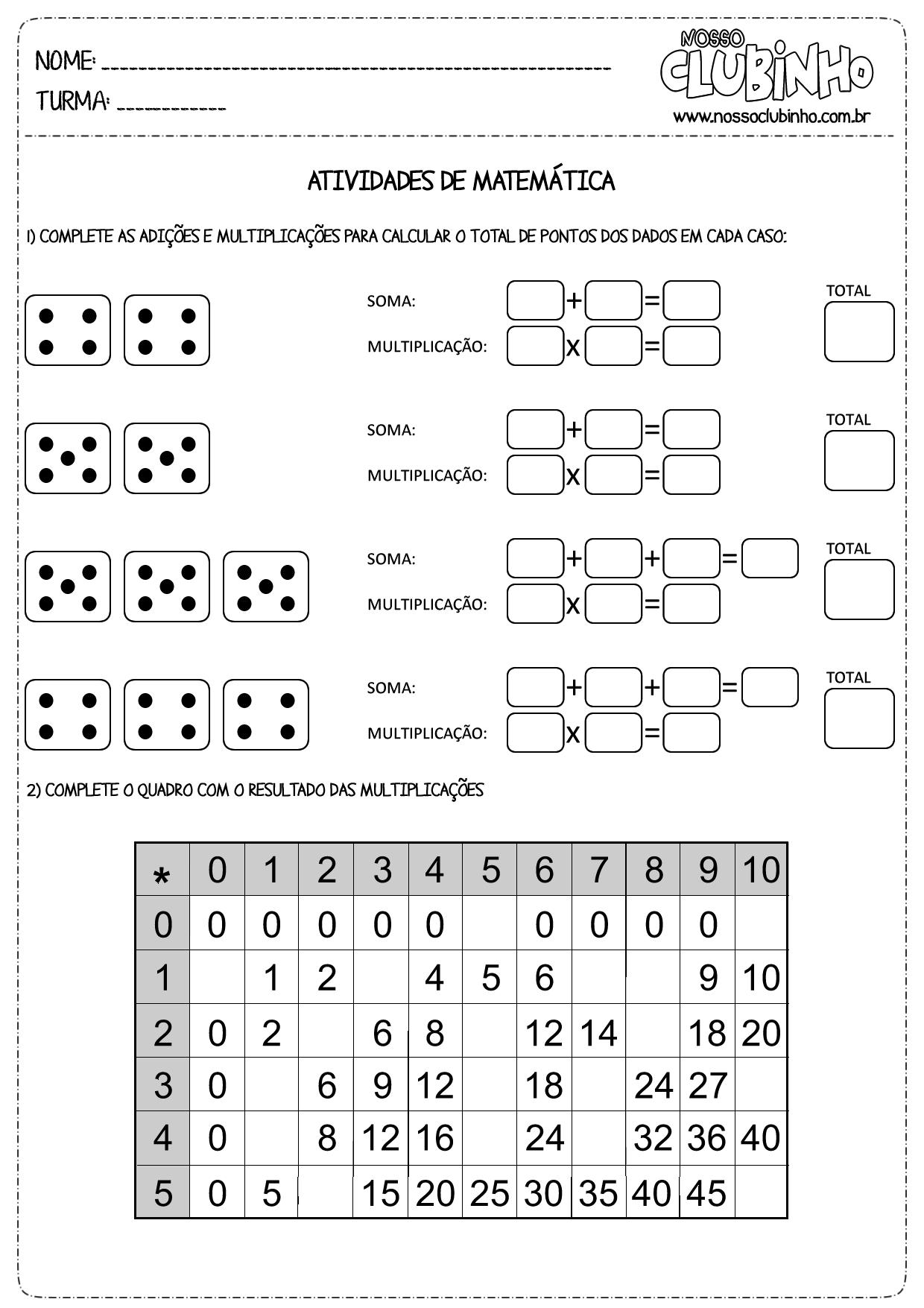 Conhecido atividades de matemática - Página 2 de 4 - Nosso Clubinho LT35
