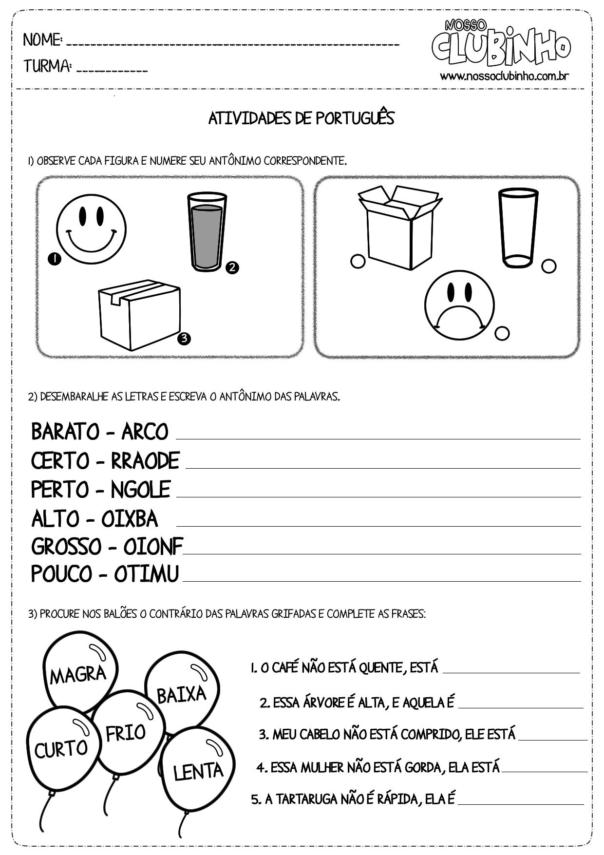 Atividades para alfabetização: Antônimos
