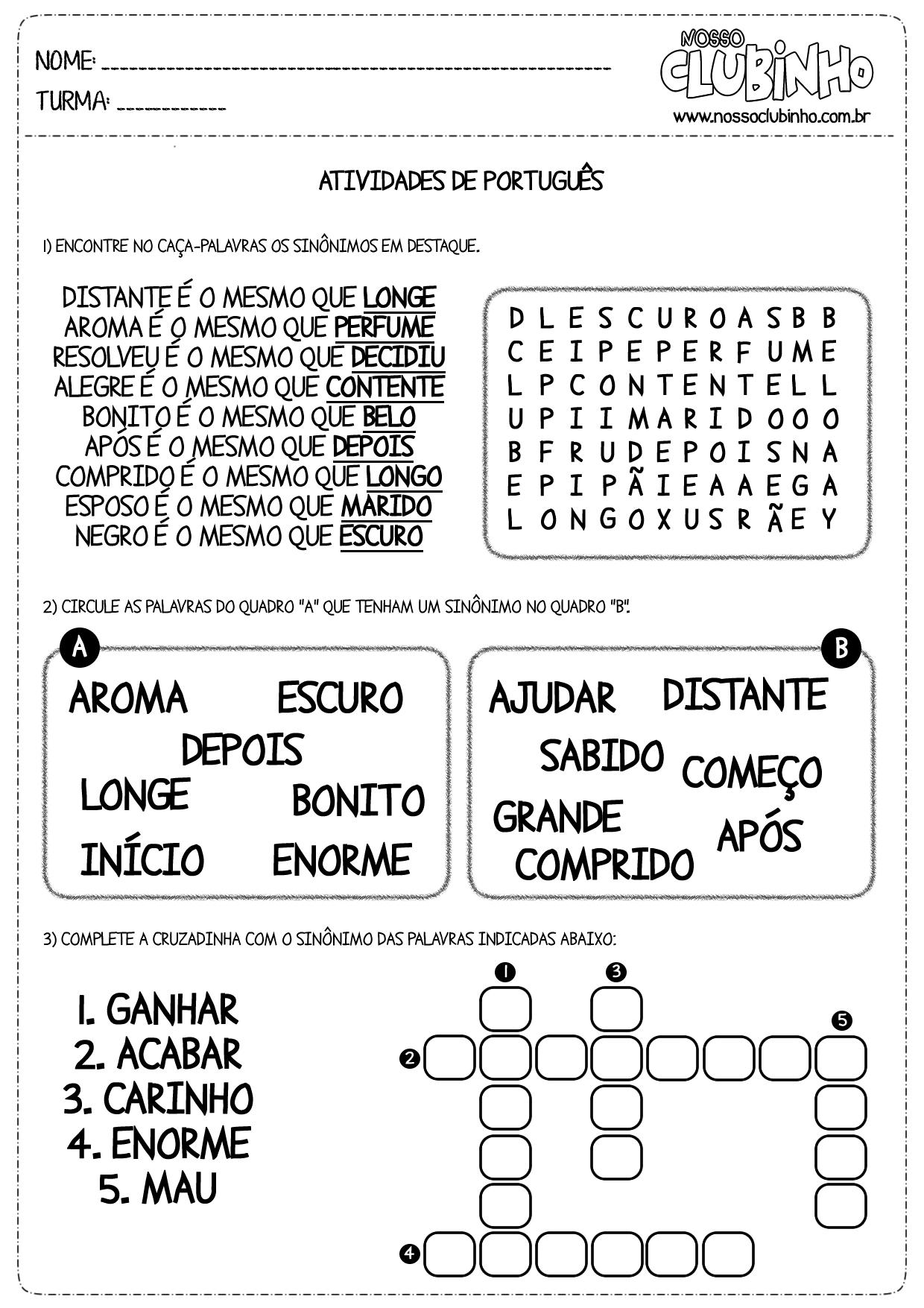 Atividades de alfabetização: Sinônimos