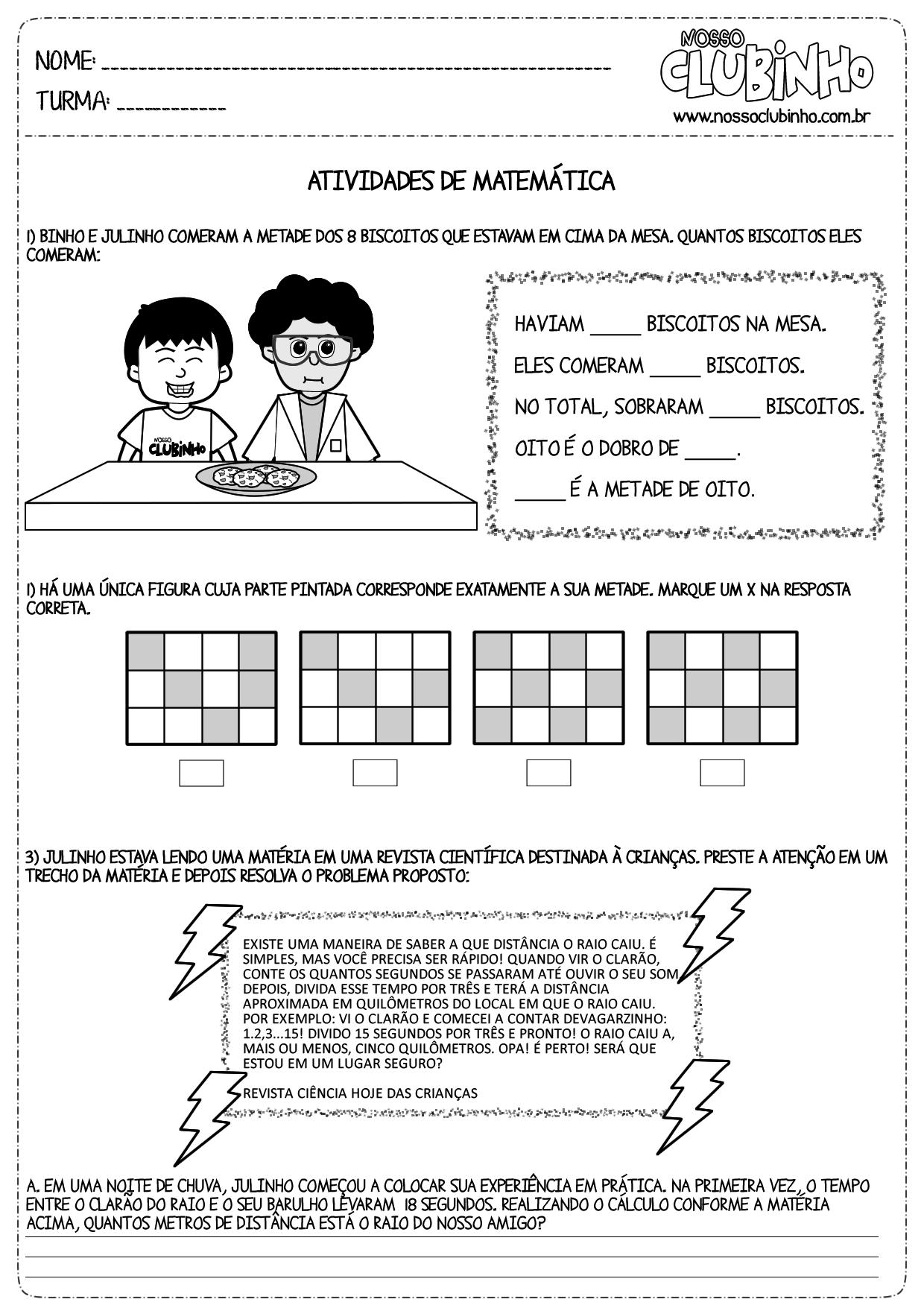 Atividades De Matemática Metade Nosso Clubinho