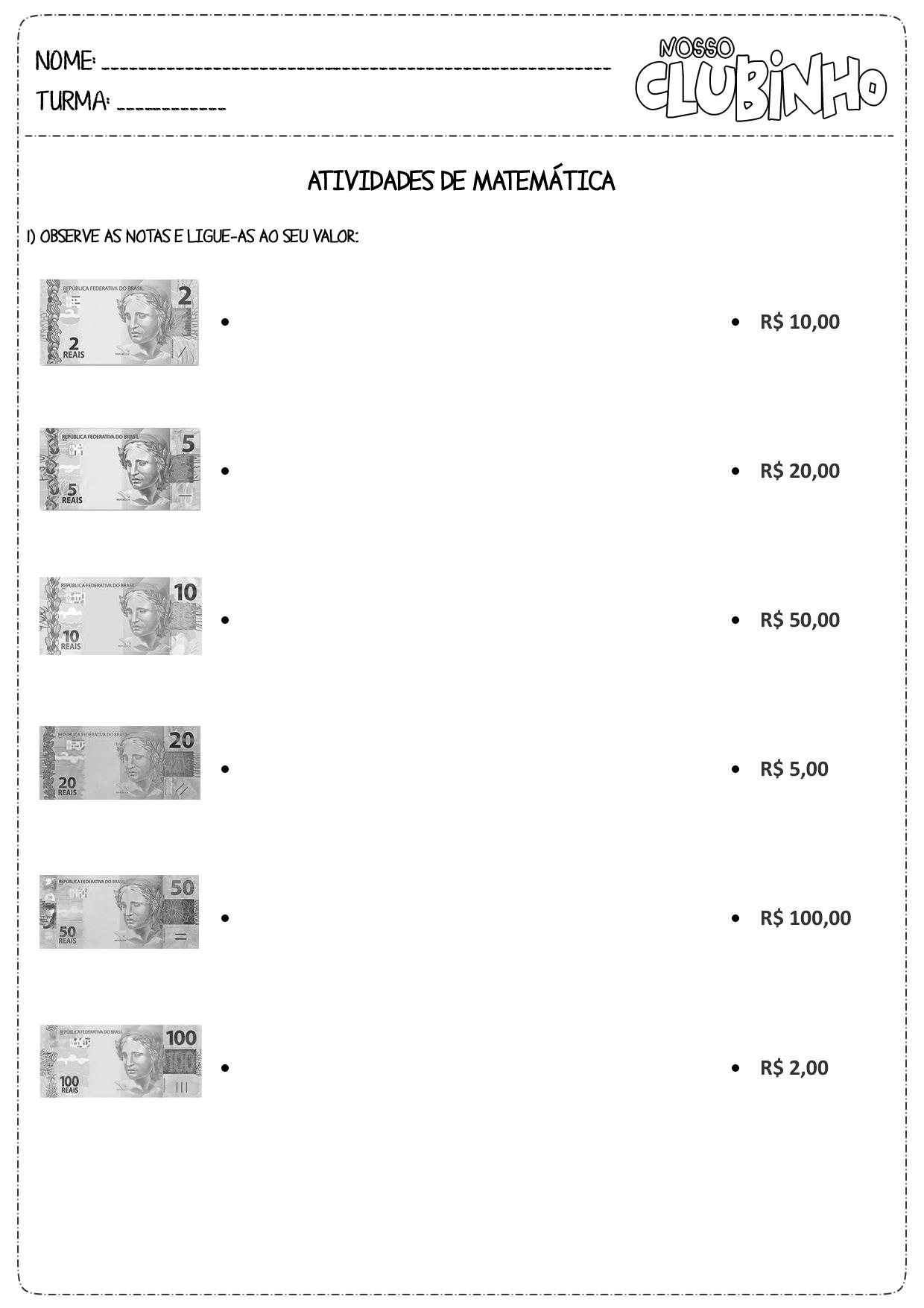Famosos Atividades de Matemática: Sistema Monetário III - Nosso Clubinho IS24