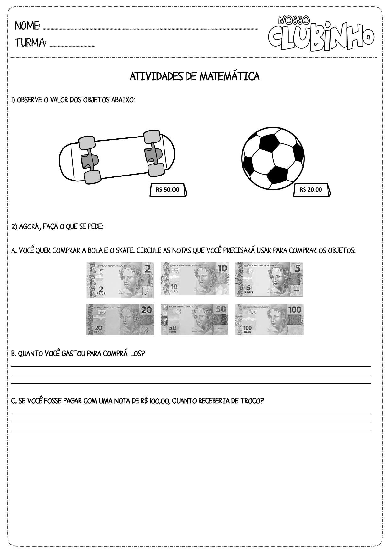 Favoritos Atividades de Matemática: Sistema Monetário IV - Nosso Clubinho DK22