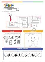 <p>Atividade para Educação Infantil com o tema saúde bucal. Nessa atividade, as crianças aprendem sobre higiene bucal brincando. Tem labirinto, atividade para coordenação motora e mais.</p>